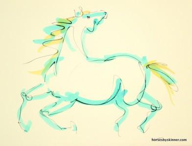 Running horse looking backwards